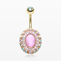Golden Pink Radiance Belly Button Ring