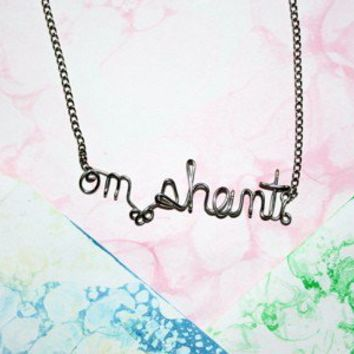 OM Shanti Necklace Peace Sanskrit Yoga Jewelry by Exaltation