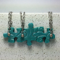 Graduation 2014 Puzzle Piece Interlocking Necklaces 3 Piece Set Turquoise with Pearls Made To Order