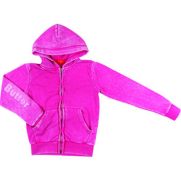 "Butter GIRLS ""SUGAR RUSH"" BURNOUT ZIP HOODIE - Pink"