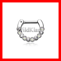 Opal Septum Clicker 16g Opal Paradigm 14g Septum Ring Earring Cartilage Piercing Tragus Ring Helix Conch Nose Nipple White Opal Septum Ring