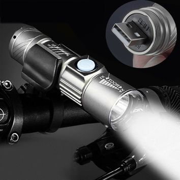 Adjustable LED Zoom 3000LM MINI USB Rechargeable Flashlight Torch Portable