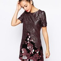 New Look | New Look Sequin Shift Dress With Floral Applique Border at ASOS