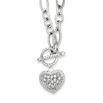 Sterling Silver 18 Inch CZ Heart Charm and Toggle Link Necklace