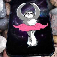 sloth dancing in galaxy for iPhone 4/4s/5/5S/5C/6, Samsung S3/S4/S5 Unique Case *76*