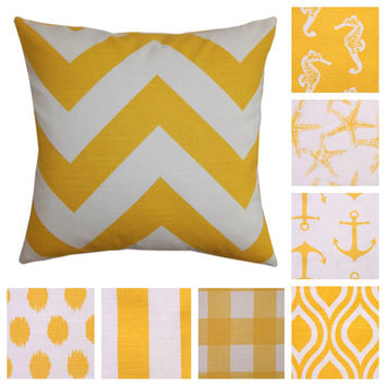 18x18 Modern Yellow Decorative Pillow Cover In 8 Different Patterns