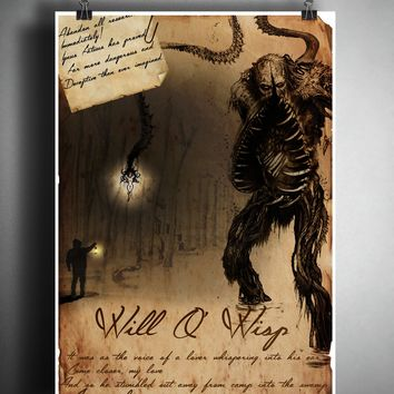 Will O Wisp cryptid art, bestiary cryptozoology science journal art, monsters and folklore