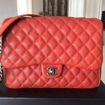 """CHANEL Caviar """"Rock in Rome"""" Flap Quilted Bag Handbag - Dark Red"""