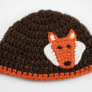 Brown and Orange Crochet Hat with Fox Applique // Newborn Fox Beanie // Foxy Baby Beanie