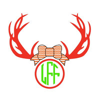 Antlers with Bow and Monogram Decal Add Personality to Christmas Gifts, Great personal Gift, Gift Wrap Option, Personalize So Many Things