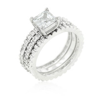 Rhodium Princess and Round CZ Triple Wedding Ring Set