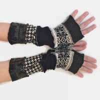 Upcycled Fingerless Gloves Black White Armwarmers Recycled Wrist warmers Stripe Gloves Knit Fingerless Mittens  fashion accessories