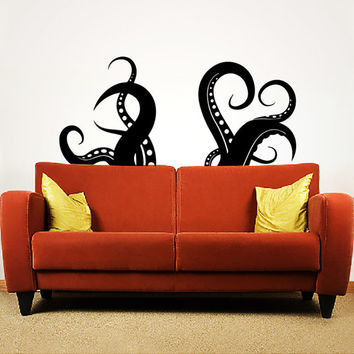 Wall Decal Vinyl Sticker Decals Art Home Decor Design Murals Octopus Tentacles Fish Deep Sea Scuba Ocean Animals Bedroom Bathroom Dorm AN435