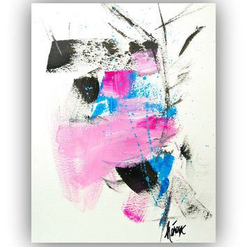 ABSTRACT Art Painting - Minimalist Zen Art Pink Black Wall Art 11x14