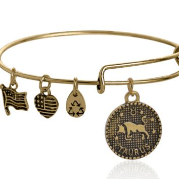 Alex and Ani style 12 constellation Bracelet,Taurus pattern pendant charm bracelet