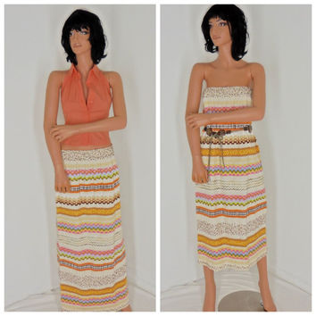 boho maxi skirt, size 4 / 6, 1970's hippie maxi  skirt / tube dress by F.A. Chatta
