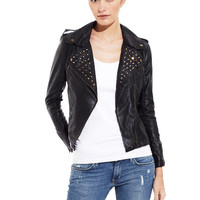 OLIVACEOUS Black Studded Moto Jacket
