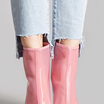Lucite Heel Tinted Ankle Boots