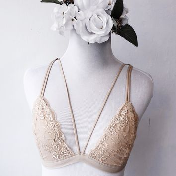 Kiana Strappy Laced Bralette (BEIGE) - FULLY STOCKED