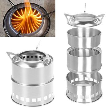 IPRee Portable Mini Camping Stove Stainless Steel Wood Burner Furnace Cooker