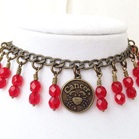 Cancer Zodiac Jewelry, Ruby Red Charm Bracelet, Cancer Sign Birthstone