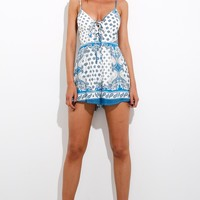 Fall At Your Feet Playsuit Blue