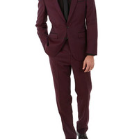 2 Piece West End by Simon Carter Burgundy Tipped Slim Fit Suit - Mens Suits View All - Suits - Burton