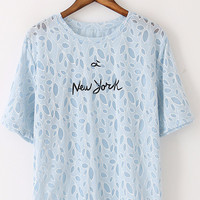 Baby Blue New York Mesh Cut Out T-Shirt