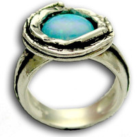 Blue opal ring Sterling silver oxidized ring by artisanimpact