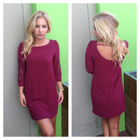 Burgundy Crochet 3/4 Sleeve Dress