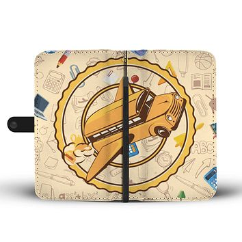 Flying School Bus Wallet Phone Case