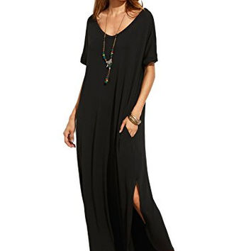 Women's Casual Loose Pocket Long Dress Short Sleeve Split Maxi Dress
