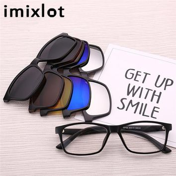 IMIXLOT Polarized Magnetic Sunglasses Clip Magnet Mirrored Clip on Glasses Men Flip Myopia Women Prescription Optical