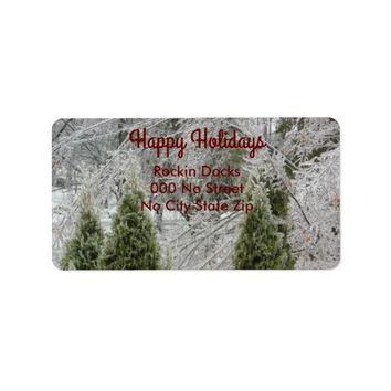 Happy Holidays Tranquil Icy Branches Label