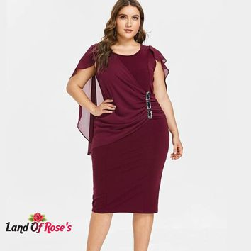 Plus Size Capelet Knee Length Fitted Sleeveless Scoop Neck Sheath Dress Rhinestone Overlay