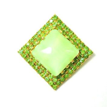 Austrian Rhinestone & Glass Pin Vintage Sage Green Gold Plated Made In Austria Square Brooch