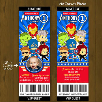 Baby Avengers Ticket Invitation - Young Cartoon Avengers superheroes Printable Birthday Invitation - Movie Ticket Style