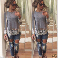Autumn Long Sleeve Knit See Through Lace Tops T-shirts [7732251398]