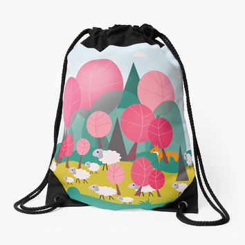 'The Watching Fox' Drawstring Bag by mirimo