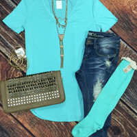 Vicky Basic V Tunic Top: Mint