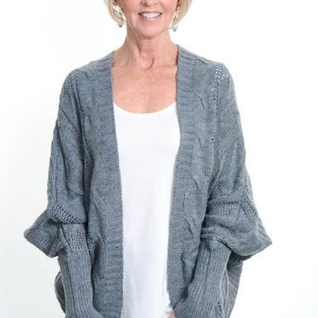 Charcoal Cable Knit Dolman Cardigan