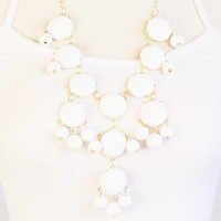 Bubble Necklace, White Statement Necklace