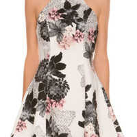 Halter Florals Flare Dress