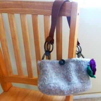 Felt handbag, felted purse, fully lined, felted purse, crochet flower, ready to ship, handmade, felted wool, wet felted, gift idea, women