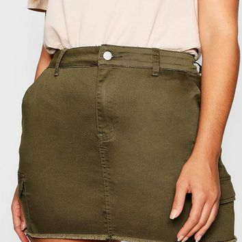 Plus Utility Pocket Denim Skirt | Boohoo