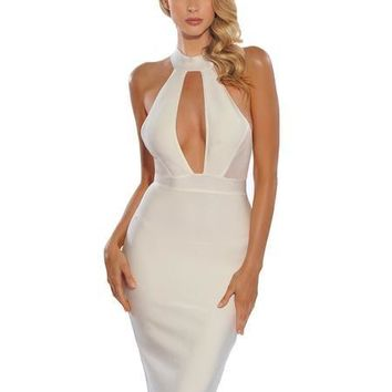 White Mesh Cut Out Keyhole Detail Bandage Dress