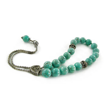 Blue Howlite Turquoise Komboloi Worry Beads, Silver Tone Metal Master Bead on Metal Curb Chain, Greek Meditation Worry Beads