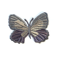 Grey Butterfly Patch/Papillon Applique/Butterfly Embroidery