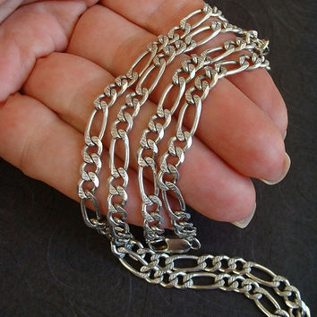 "Men's Vintage STERLING Silver CHAIN Necklace FANCY Figaro Diamond-Cut Links Reversible 24""  Long 5mm Hallmarks c.1980s"