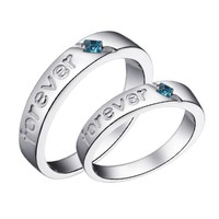 18k White Gold Plated Forever Love Couple Style Band Ring (Men's or Women's)
